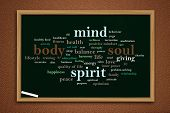 Body Mind Soul Spirit, Business Motivational Inspirational Quotes, Words Typography Lettering Concep poster