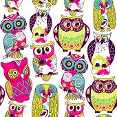 Seamless and colourful owl pattern.