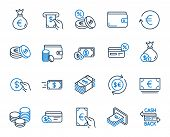 Money Wallet Line Icons. Set Of Credit Card, Cash And Coins Icons. Banking, Currency Exchange And Ca poster