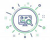 Seo Statistics Line Icon. Search Engine Sign. Analytics Chart Symbol. Quality Design Elements. Techn poster