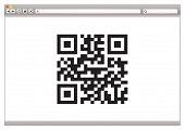 Concepto de navegador de Internet con el código QR para identificación de producto
