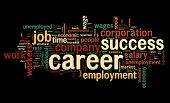 Career related words concept in word tag cloud on black