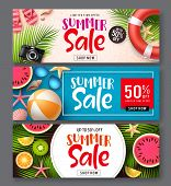 Summer Sale Vector Banner Set. Summer Sale Discount Text In Colorful Backgrounds With Beach Elements poster
