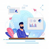 Vector Illustration Office Work Cartoon Flat. Bearded Man Sitting At Table And Working Laptop. Brain poster
