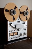 Analog Stereo Open Reel Tape Deck Recorder with large reels