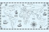 Vector Antique World Map With Countries Boundaries And Ships. Illustration Of Geography World Map, A poster