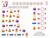 Mathematical Logic Puzzle Game. Solve Examples And Count Which Number Corresponds To Each Of Object. poster