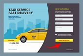 Taxi Landing. Booking Car Promotion City Service With Web Form For Making Order Online Vector Web Pa poster