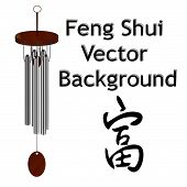 Feng Shui Vector Background With Wind Chime