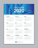 Calendar 2020 Template, Wall Calendar 2020 Vector, Desk Calendar Design, Week Start On Sunday, Plann poster