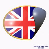 Bright Sticker With Flag Of England. Bright Illustration With Flag. Happy England Day Sticker. Illus poster