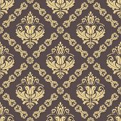 Classic Seamless Pattern. Damask Orient Brown And Golden Ornament. Classic Vintage Background poster