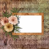 Card For Congratulation Or Invitation With Flower On Abstract Background.