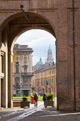 View Of Cathedral Through Arch Of Piazza Della Pilotta, In Parma