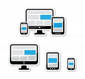 Responsive design for web - computer screen, smartphone, tablet labels set