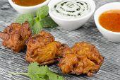 Onion Bhajis & Dips