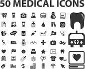 medicamento 50, conjunto de ícones de cuidados de saúde, vetor