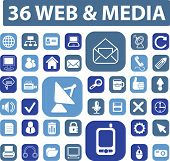 web media icons, signs set, vector