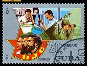 Estampilla vintage. Juventud Comunista.