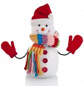 Christmas snowman with colorful striped scarf and santa claus hat , isolated on white background