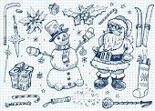 Doodle de Natal definida