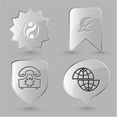 Business icon set. Shift globe, abstract monetary sign, old phone, percent sign.  Glass buttons.