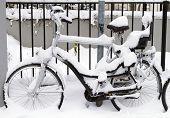 Bicycle With Infant Seat Covered In Snow