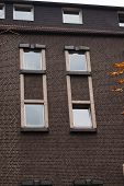 Windows in the bricks wall