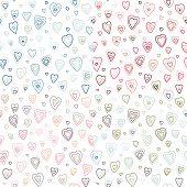 Seamless hearts fifties retro stroke design pattern