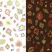 seamless retro vector autumn leaf pattern
