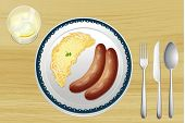 Illustration of a sausages and spaetzle on a wooden table