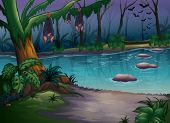 Illustration of mysterious woods and a river