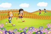 Illustration of kids running on a field