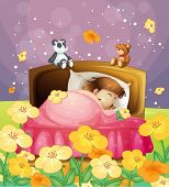 Illustration of a girl sleeping in her bed in a beautiful nature