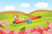 stock photo of seesaw  - Illustration of a girl playing on a seesaw on a playground - JPG