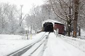 stock photo of covered bridge  - Snowing at a covered bridge in Lancaster County - JPG