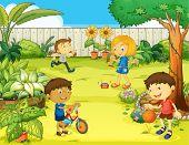 Ilustración de niños jugando en una naturaleza hermosa