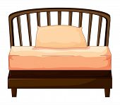 Illustration of a bed on a white background