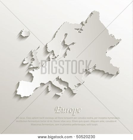 vector Europe map card paper 3D natural poster