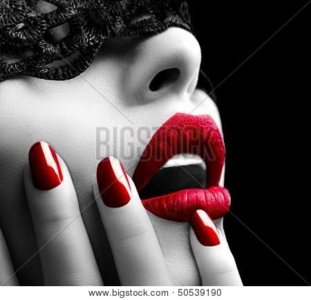 Beautiful Woman with Black Lace mask over her Eyes. Red Sexy Lips and Nails closeup. Open Mouth. Man poster
