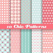 image of heart valentines  - 10 Chic different vector seamless patterns  - JPG