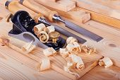image of work bench  - Woodworking and tools on work bench with shavings
