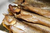 Roasted Smelt Fish Macro. Traditional Russian Spring Seasonal Dish