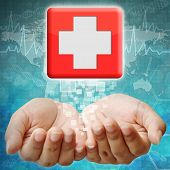 First Aid Icon On Hand ,medical Background