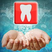 Tooth Icon On Hand ,medical Background