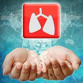 Lung Icon On Hand ,medical Background