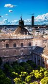 City View From Giralda Tower Orange Garden, Dome, Seville Cathedral Spain