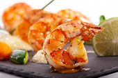 stock photo of tiger prawn  - Tiger Prawns Dish - JPG