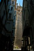 Galata Tower seen through the narrow streets. Istanbul, Turkey