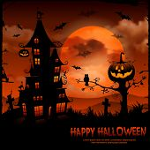 Halloween night background with pumpkin and full moon.